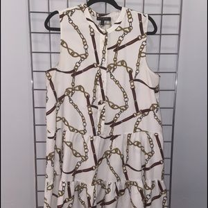 Banana Republic tiered dress with chain print